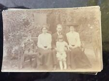 b1d postcard used  edwardian family group In garden old undated