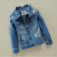 Kids Girls Boys Casual Ripped Retro Cowboy Denim Jacket Comfortable Breathable