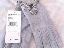 $1115+ CHANEL Light Blue Leather Camellia Silver Chain CC Logo Size 7 Gloves NWT