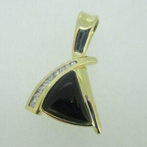 14K Yellow Gold Black Onyx Slide Pendant with Diamond Accents