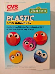 CVS Sesame Street Plastic Spot Bandages 60 ct Cookie Monster Big Bird Elmo BA1