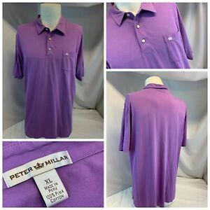 Peter Millar Polo Golf Shirt XL Men Purple 100% Cotton Logo Peru YGI J1-95
