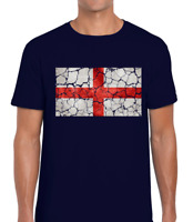 VINTAGE ENGLAND FLAG MENS T SHIRT ENGLISH PATRIOTIC DESIGN FOOTBALL CRICKET FAN