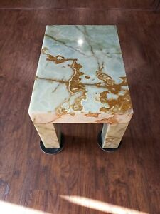 """Solid Green Brown Natural Stone Onyx Hollywood Regency Coffee Table 260Lb 30""""x20"""