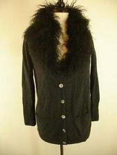 S 4 Pure Collection long cardigan sweater gray cashmere Mongolian Curly Lamb Fur