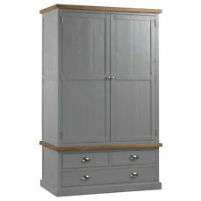 Wardrobe  Handmade Pine Wood Three Drawer Two Door Grey Hue Silver Handles