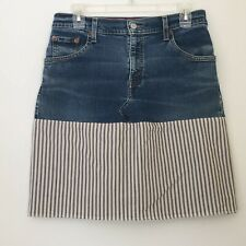 Levis Womens Blue Jean Denim Skirt 8M Upcycled Recycled Boot Cut White Stripes