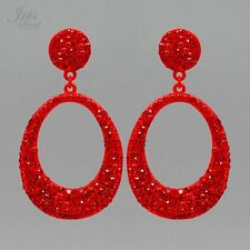 Red Alloy Crystal Rhinestone Wedding Hoop Drop Dangle Earrings 06926 New Party