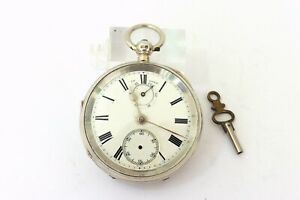 1901 GENTS SILVER FUSEE UP,DOWN DIAL POWER RESERVE POCKET WATCH RUNS FOR REPAIR