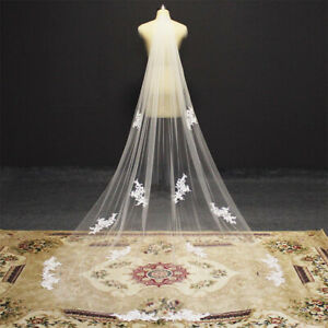 Bridal Veils with Comb Long Lace Appliques White Ivory Tulle 3 Meters for Bride