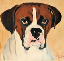 Animal= BOXER DOG= Original oil painting by O. Barella  No Frame Needed
