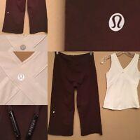 Lululemon Brown Crop Capri Pants With White Tank Top Woman Size 6 Lot Of 2