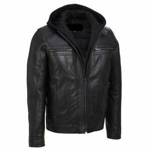 Mens Slim Fit Hooded Biker Leather Jacket Brando Style Motorcycle Jacket