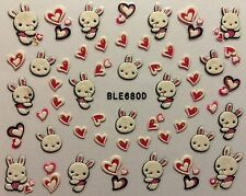 Nail Art 3D Decal Stickers Bunny Hearts Easter Bunny Rabbit Valentines BLE680D