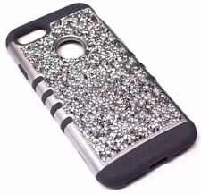 For iPhone 7 Silver Trim Silver 3D Rhinestones Gray Bling Hybrid Armor Skin Case