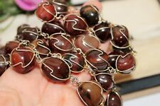 AGATE NECKLACE WITH SILVER TONE WIRE WRAPS