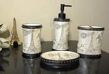 ROYAL PARIS FLEUR DE LIS EIFFEL TOWER SCULPTURED 4PC VANITY BATH ACCESSORY SET