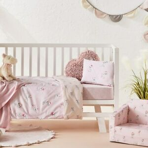 ADAIRS KIDS Sweet Puppy dog COT (Jnr Bed) Quilt Cover Set- pink bows- reversible