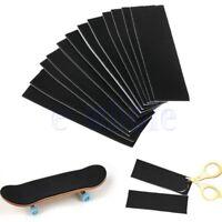 12Pc Wooden Fingerboard Deck Uncut Black Grip Tape Stickers 110mm x 35mm TW