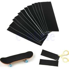 12Pc Wooden Fingerboard Deck Uncut Black Grip Tape Stickers 110mm x 35mm TW