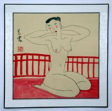 """Chinese painting nude girl 16x16"""" naked lady belle line drawing modern ink art"""