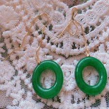 Green Chalcedony Earrings 18KGB Round Holiday gifts Luxury Gift For Her