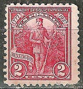 ,U.S. 1927 Vermont Sesquicentennial #643 Used, 2c Red, Bennington WYSIWYG Lot