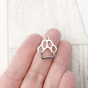 50 x Paw Charms Antique Silver Tone Joblot Bulk Dog Cat Paw Print Wholesale