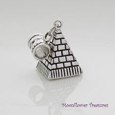 Tibetan Silver 3D Egyptian Pyramid Charm fit European Charm Bracelet