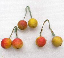 3 Vintage Spun Cotton Russian Decoration Christmas Tree Ornament Sweet Cherry