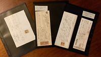 Lot of 9 - 1860's CIVIL WAR ERA BANK NOTES RECEIPTS DOCUMENTS W/REVENUE STAMPS