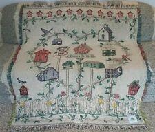 New Heart Birdhouse Woven Cotton Afghan Throw Blanket Bird House Watcher Gift