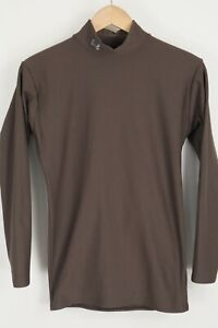 Under Armour Mens sz Large Brown Mock Neck Compression Long Sleeve Shirt