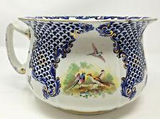 """Chamber Pot R & N 535039 Asian Design Phoenix Birds Cobalt Blue Gold Trim 8X6"""""""