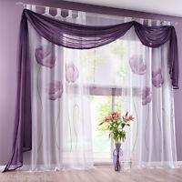 FP Rideau Panneau Voilage Fenêtre Noeud Curtain Maison Chambre Décor Violet