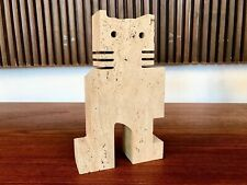 Italian TRAVERTINE Cat Sculpture FRATELLI MANNELLI Travertin Figur Katze 1970s