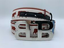 $425 Bally Animals Leather Reversible Red and Black Belt 120/48 Made in Italy