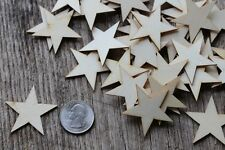 50 qty Small 1-1/2  inch Star Wood Embellishments Crafts Flag Wooden Decor DIY