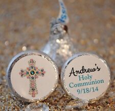 108 Boy Baptism or Holy Communion with Cross Personalized Hershey Kiss Stickers