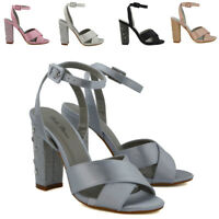 Womens Wedding Shoes Strappy Diamante Heel Ladies Prom Party Sandals Size 3-8