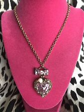 Betsey Johnson Vintage SPARKLY Pink Crystal Jewel Heart Gold Long Bow Necklace