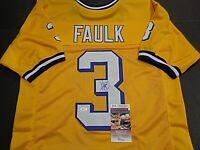 Kevin Faulk LSU Tigers Autographed Yellow Style Jersey XL Coa JSA