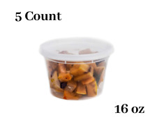 16 oz  5 Count  Plastic Soup Containers with Cutlery
