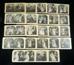 "23 Genre Comic Stereoviews ""Wedding Bells"" Set Incomplete Hand-Colored Lithos"