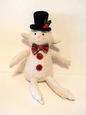Plush Sitting Lamb Plaid Red Bow Tie Black Top Hat Holiday Christmas Decoration