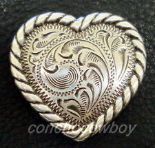 WESTERN HORSE SADDLE TACK ANTIQUE  ROPE EDGE HEART CONCHOS 1 inch screw back