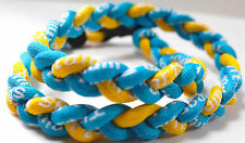 "SALE 20"" 3 Rope Twist Titanium Sport Necklace Light Blue Yellow Tornado Warriors"