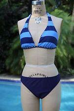 Tommy Hilfiger Women's Bikini Swimwear Swimsuit Blue Polka Dot Stripe Size 10