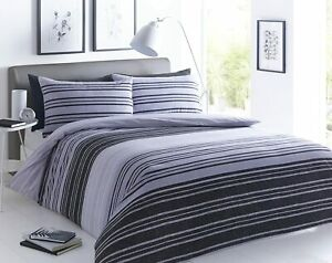 Textured Stripe Black/Grey Duvet Cover Set Double Size