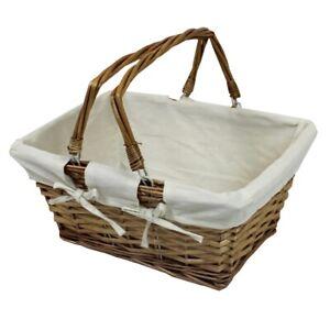 Wicker Storage Basket Handmade From Split Willow H:20 x W:40 x D:30cm Picnic
